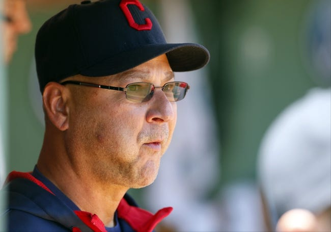Jun 15, 2014; Boston, MA, USA; Cleveland Indians manager Terry Francona (17) in the dugout before the start of the game against the Boston Red Sox at Fenway Park. Mandatory Credit: David Butler II-USA TODAY Sports