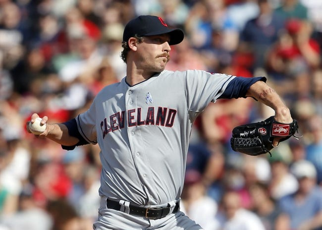 Jun 15, 2014; Boston, MA, USA; Cleveland Indians relief pitcher John Axford (44) throws a pitch against the Boston Red Sox in the ninth inning at Fenway Park. Mandatory Credit: David Butler II-USA TODAY Sports