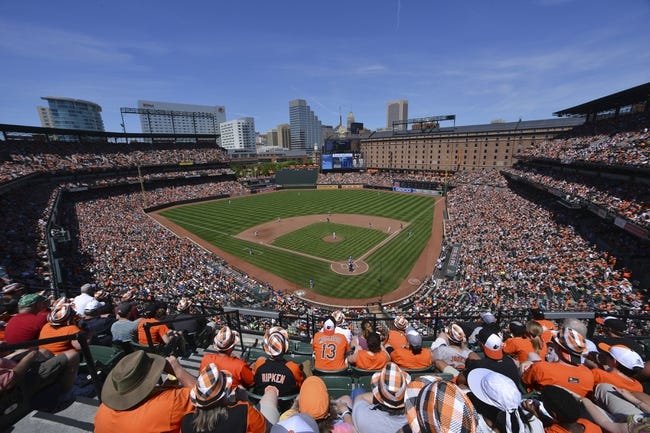 Jun 15, 2014; Baltimore, MD, USA; A general view  of  Oriole Park at Camden Yards during the fourth inning during the the game between the Toronto Blue Jays and Baltimore Orioles . Toronto Blue Jays defeats the Baltimore Orioles 5-2. Mandatory Credit: Tommy Gilligan-USA TODAY Sports