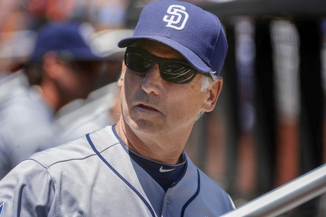 Jun 15, 2014; New York, NY, USA; San Diego Padres manager Bud Black (20) reacts during the game against the New York Mets at Citi Field. Mandatory Credit: Robert Deutsch-USA TODAY Sports