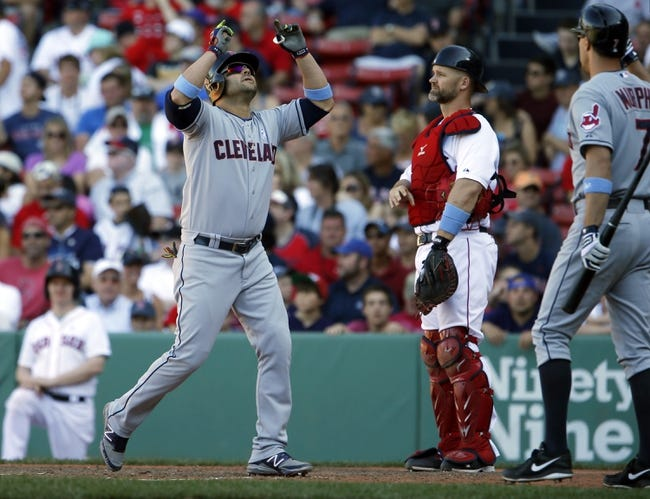 Jun 15, 2014; Boston, MA, USA; Cleveland Indians first baseman Nick Swisher (33) reacts after hitting a go ahead home run against the Boston Red Sox in the eleventh inning at Fenway Park. Mandatory Credit: David Butler II-USA TODAY Sports