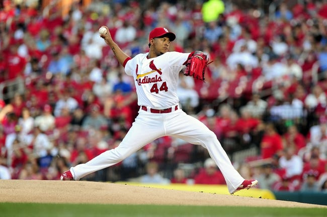 Jun 16, 2014; St. Louis, MO, USA; St. Louis Cardinals starting pitcher Carlos Martinez (44) throws to a New York Mets batter during the first inning at Busch Stadium. Mandatory Credit: Jeff Curry-USA TODAY Sports