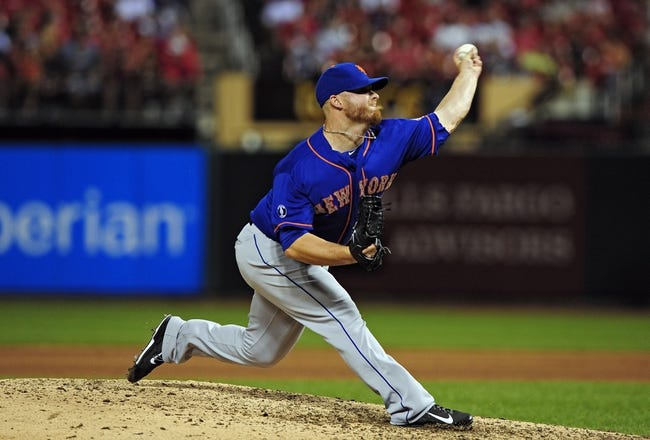 Jun 16, 2014; St. Louis, MO, USA; New York Mets relief pitcher Josh Edgin (66) throws to a St. Louis Cardinals batter during the eighth inning at Busch Stadium. The Cardinals defeated the Mets 6-2. Mandatory Credit: Jeff Curry-USA TODAY Sports