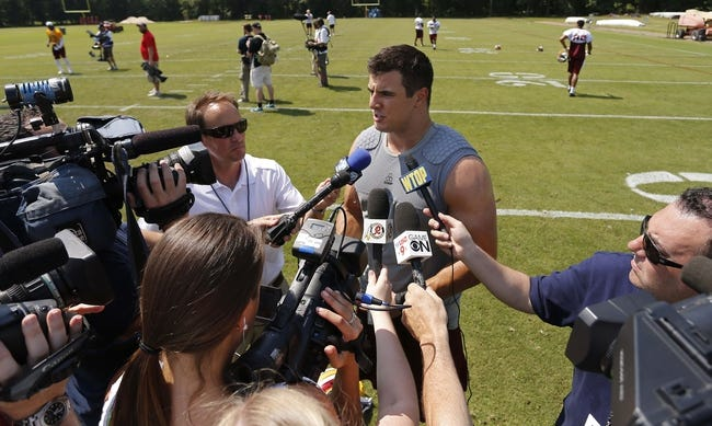 Jun 17, 2014; Ashburn, VA, USA; Washington Redskins outside linebacker Ryan Kerrigan speaks with the media after a minicamp session at Redskins Park. Mandatory Credit: Geoff Burke-USA TODAY Sports