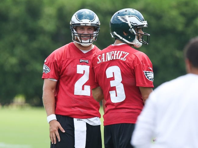 Jun 17, 2014; Philadelphia, PA, USA; Philadelphia Eagles quarterbacks Matt Barkley (2) and Mark Sanchez (3) during mini camp at the Philadelphia Eagles NovaCare Complex. Mandatory Credit: Bill Streicher-USA TODAY Sports