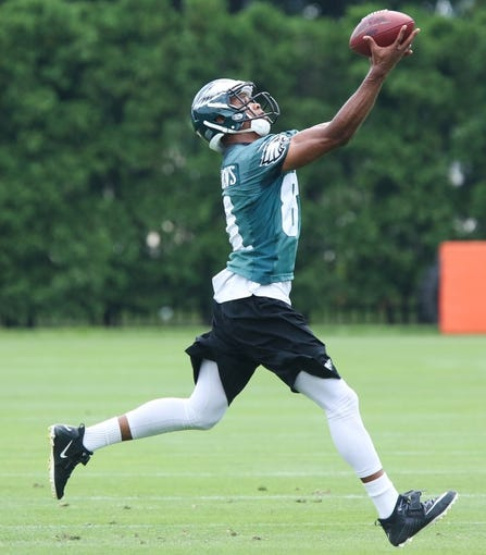 Jun 17, 2014; Philadelphia, PA, USA; Philadelphia Eagles wide receiver Jordan Matthews (81) catches the ball during mini camp at the Philadelphia Eagles NovaCare Complex. Mandatory Credit: Bill Streicher-USA TODAY Sports