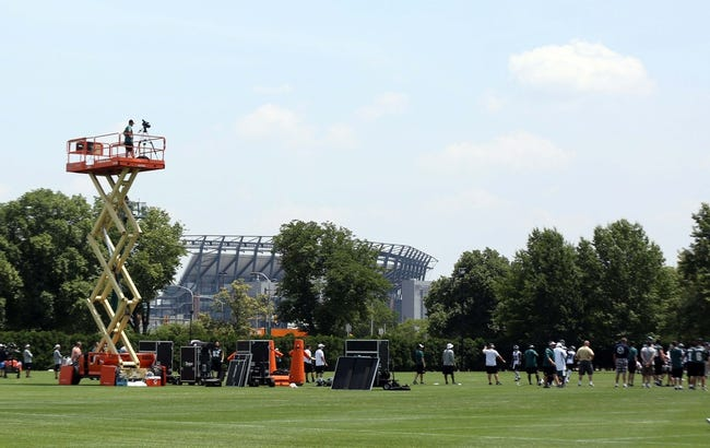 Jun 17, 2014; Philadelphia, PA, USA; General view of the practice fields with Lincoln Financial field in the distance during mini camp at the Philadelphia Eagles NovaCare Complex. Mandatory Credit: Bill Streicher-USA TODAY Sports