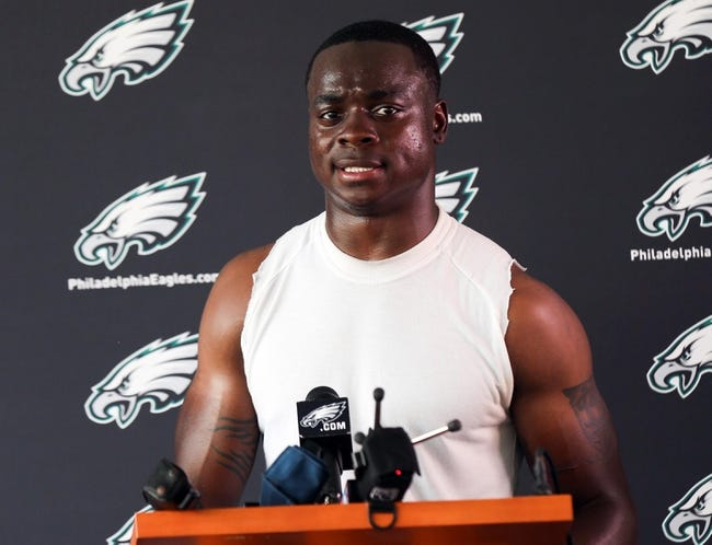 Jun 17, 2014; Philadelphia, PA, USA; Philadelphia Eagles wide receiver Jeremy Maclin (18) during a press conference at mini camp at the Philadelphia Eagles NovaCare Complex. Mandatory Credit: Bill Streicher-USA TODAY Sports