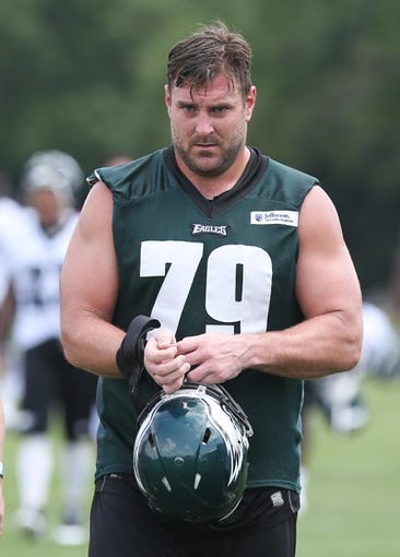 Jun 17, 2014; Philadelphia, PA, USA; Philadelphia Eagles guard Todd Herremans (79) during mini camp at the Philadelphia Eagles NovaCare Complex. Mandatory Credit: Bill Streicher-USA TODAY Sports