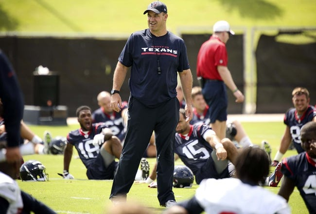 Jun 17, 2014; Houston, TX, USA; Houston Texans head coach Bill O'Brien instructs players during mini camp at Houston Methodist Training Center. Mandatory Credit: Andrew Richardson-USA TODAY Sports