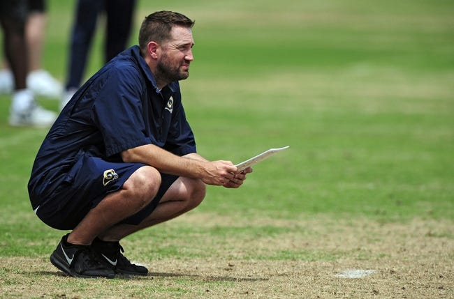 Jun 17, 2014; St. Louis, MO, USA; St. Louis Rams offensive coordinator Brian Schottenheimer looks on during minicamp at Rams Park. Mandatory Credit: Jeff Curry-USA TODAY Sports