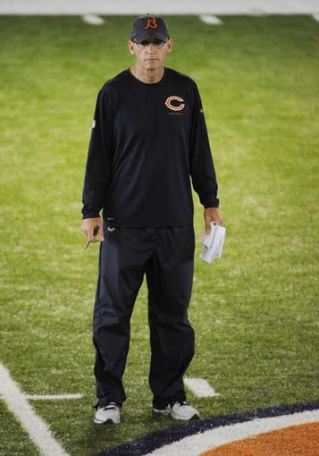 Jun 17, 2014; Lake Forest, IL, USA;  Chicago Bears head coach Marc Trestman during Chicago Bears minicamp at Halas Hall. Mandatory Credit: David Banks-USA TODAY Sports