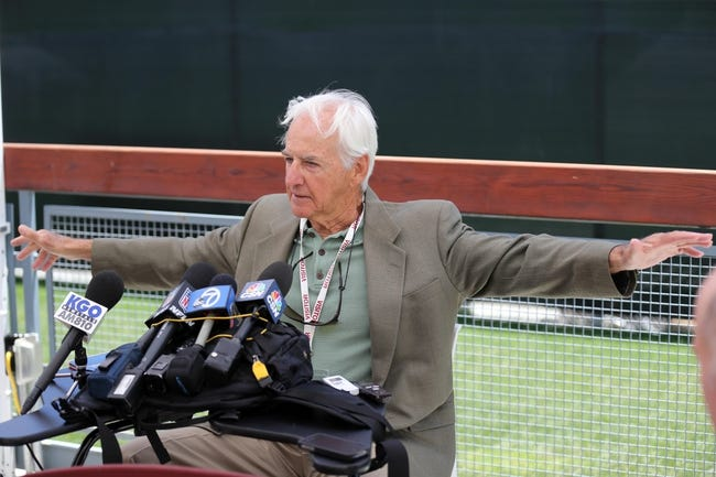 Jun 17, 2014; Santa Clara, CA, USA; San Francisco 49ers former head coach George Seifert addresses the media regarding his selection to the 49ers Hall of Fame at the 49ers headquarters. Mandatory Credit: Kelley L Cox-USA TODAY Sports