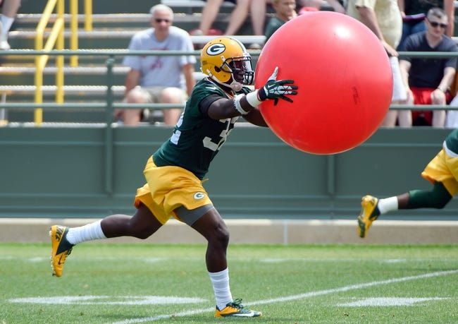 Jun 17, 2014; Green Bay, WI, USA;  Green Bay Packers safety Chris Banjo practices during the team's minicamp at Ray Nitschke Field. Mandatory Credit: Benny Sieu-USA TODAY Sports