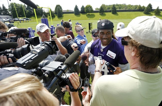 Jun 17, 2014; Eden Prairie, MN, USA; Minnesota Vikings wide receiver Cordarrelle Patterson (84) speaks with the media after practice at Winter Park. Mandatory Credit: Bruce Kluckhohn-USA TODAY Sports