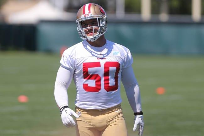 Jun 17, 2014; Santa Clara, CA, USA; San Francisco 49ers linebacker Chris Borland (50) during minicamp at the 49ers practice facility. Mandatory Credit: Kelley L Cox-USA TODAY Sports