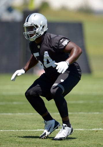 Jun 17, 2014; Alameda, CA, USA; Oakland Raiders linebacker Marshall McFadden (54) at minicamp at Raiders Practice Facility. Mandatory Credit: Kirby Lee-USA TODAY Sports