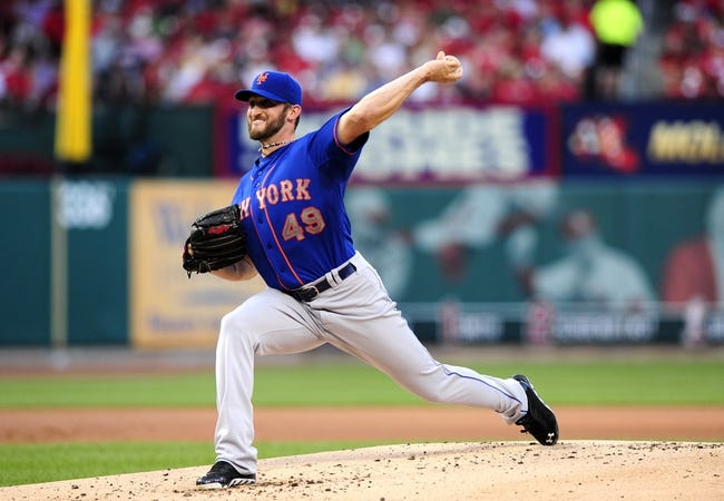 Jun 17, 2014; St. Louis, MO, USA; New York Mets starting pitcher Jonathon Niese (49) throws to a St. Louis Cardinals batter during the first inning at Busch Stadium. Mandatory Credit: Jeff Curry-USA TODAY Sports