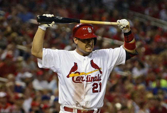 Jun 17, 2014; St. Louis, MO, USA; St. Louis Cardinals right fielder Allen Craig (21) reacts after striking out during the fifth inning against the New York Mets at Busch Stadium. The Cardinals defeated the Mets 5-2. Mandatory Credit: Jeff Curry-USA TODAY Sports
