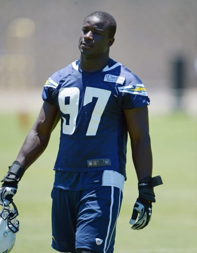 Jun 18, 2014; San Diego, CA, USA; San Diego Chargers linebacker Jerry Attaochu (97) at minicamp at Chargers Park. Mandatory Credit: Kirby Lee-USA TODAY Sports