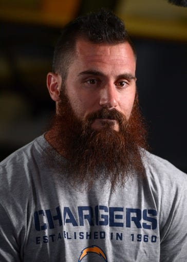 Jun 18, 2014; San Diego, CA, USA; San Diego Chargers safety Eric Weddle (32) at minicamp at Chargers Park. Mandatory Credit: Kirby Lee-USA TODAY Sports