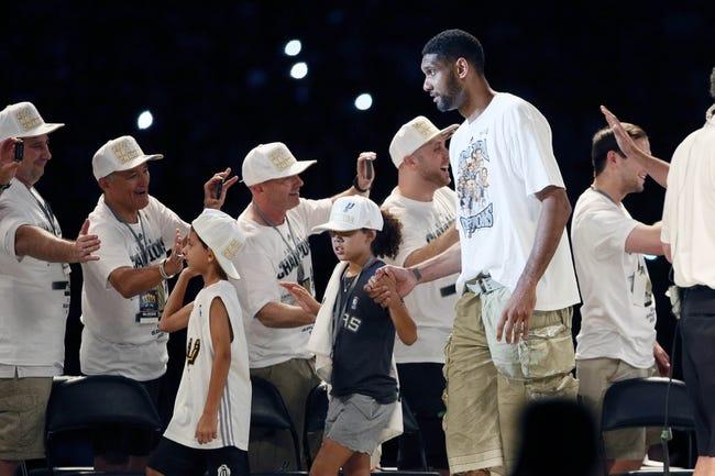 Jun 18, 2014; San Antonio, TX, USA; San Antonio Spurs forward Tim Duncan (21) is introduced during NBA championship celebrations at Alamodome. Mandatory Credit: Soobum Im-USA TODAY Sports