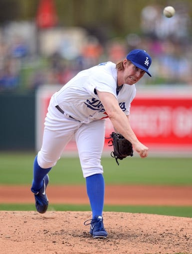 Mar 13, 2014; Phoenix, AZ, USA; Los Angeles Dodgers relief pitcher Red Patterson (78) pitches in the fourth inning of a spring training game against the Cincinnati Reds at Camelback Ranch. Mandatory Credit: Joe Camporeale-USA TODAY Sports