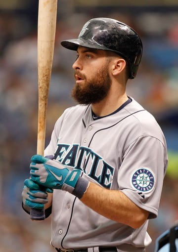 Jun 8, 2014; St. Petersburg, FL, USA; Seattle Mariners left fielder Dustin Ackley (13) at bat against the Tampa Bay Rays at Tropicana Field. Mandatory Credit: Kim Klement-USA TODAY Sports