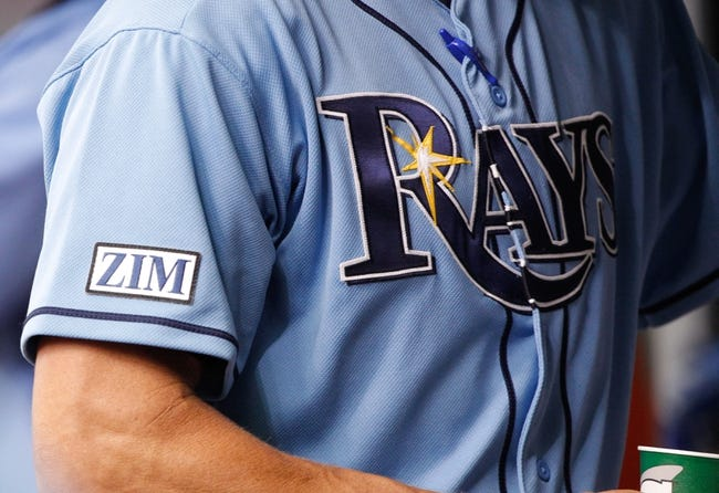 Jun 8, 2014; St. Petersburg, FL, USA; A detailed view of Tampa Bay Rays pitching coach Jim Hickey (48) patch for senior baseball advisor Don Zimmer (66) (not pictured)  that says , Zim, who recently passed away at Tropicana Field. Mandatory Credit: Kim Klement-USA TODAY Sports