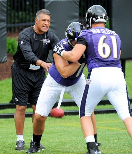 Jun 19, 2014; Baltimore, MD, USA; Baltimore Ravens offensive line coach Juan Castillo (left) talks to offensive tackles Rick Wagner (71) and Brett Van Sloten (61) during minicamp at the Under Armour Performance Center. Mandatory Credit: Evan Habeeb-USA TODAY Sports