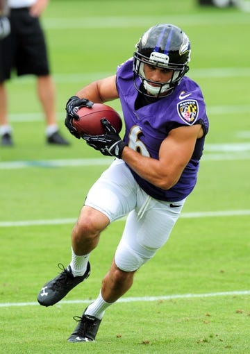 Jun 19, 2014; Baltimore, MD, USA; Baltimore Ravens wide receiver Michael Campanaro (6) runs with the ball during minicamp at the Under Armour Performance Center. Mandatory Credit: Evan Habeeb-USA TODAY Sports