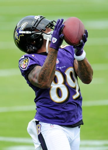 Jun 19, 2014; Baltimore, MD, USA; Baltimore Ravens wide receiver Steve Smith, Sr. (89) catches a pass during minicamp at the Under Armour Performance Center. Mandatory Credit: Evan Habeeb-USA TODAY Sports