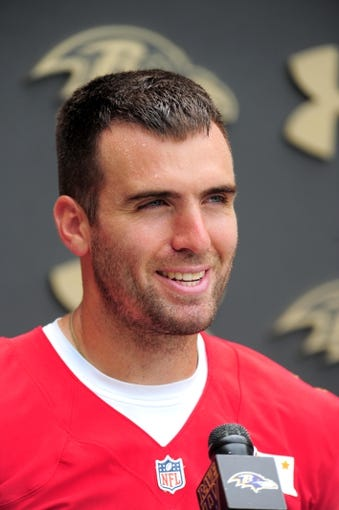 Jun 19, 2014; Baltimore, MD, USA; Baltimore Ravens quarterback Joe Flacco (5) talks to the media after minicamp at the Under Armour Performance Center. Mandatory Credit: Evan Habeeb-USA TODAY Sports