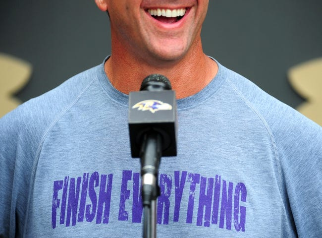 Jun 19, 2014; Baltimore, MD, USA; Baltimore Ravens head coach John Harbaugh talks to the media after minicamp at the Under Armour Performance Center. Mandatory Credit: Evan Habeeb-USA TODAY Sports