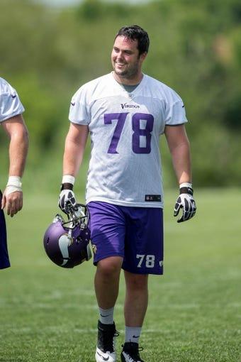 Jun 17, 2014; Eden Prairie, MN, USA; Minnesota Vikings defensive end Jake Snyder (78) leaves the field after practice at Winter Park. Mandatory Credit: Bruce Kluckhohn-USA TODAY Sports