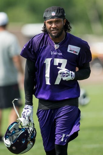 Jun 17, 2014; Eden Prairie, MN, USA; Minnesota Vikings wide receiver Jarius Wright (17) leaves the field after practice at Winter Park. Mandatory Credit: Bruce Kluckhohn-USA TODAY Sports