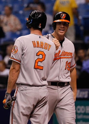 Jun 17, 2014; St. Petersburg, FL, USA; Baltimore Orioles first baseman Chris Davis (19) is congratulated by shortstop J.J. Hardy (2) after he hit a grand slam during the third inning against the Tampa Bay Rays at Tropicana Field. Mandatory Credit: Kim Klement-USA TODAY Sports