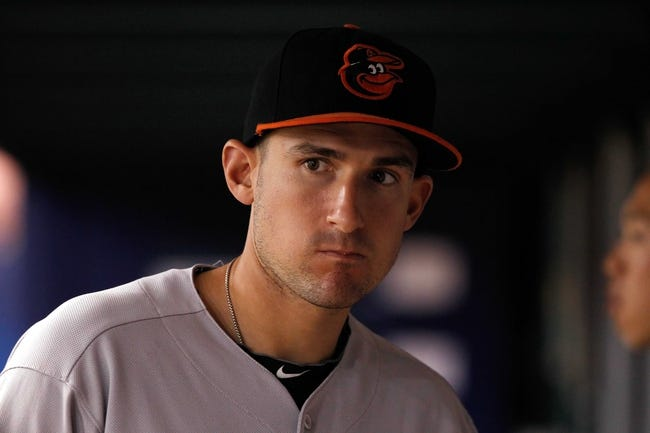 Jun 17, 2014; St. Petersburg, FL, USA; Baltimore Orioles third baseman Ryan Flaherty (3) in the dugout against the Tampa Bay Rays at Tropicana Field. Mandatory Credit: Kim Klement-USA TODAY Sports