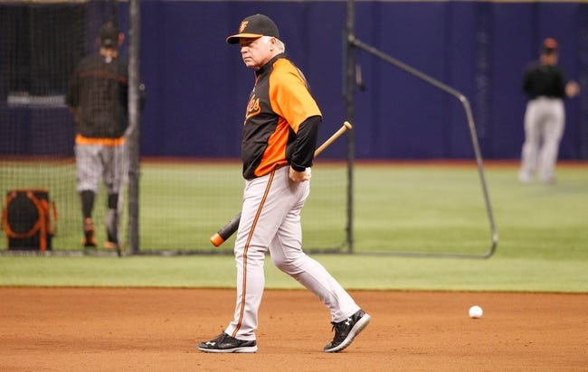 Jun 17, 2014; St. Petersburg, FL, USA; Baltimore Orioles manager Buck Showalter (26) prior to the game against the Tampa Bay Rays at Tropicana Field. Mandatory Credit: Kim Klement-USA TODAY Sports