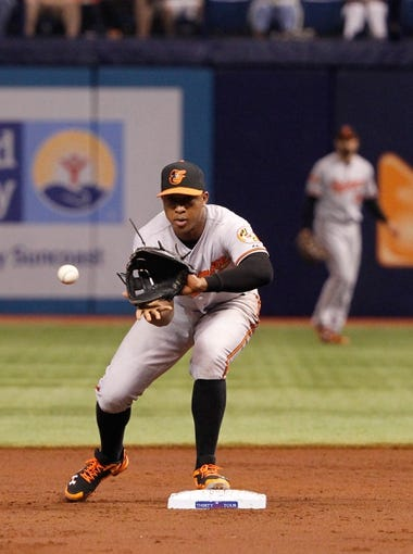 Jun 17, 2014; St. Petersburg, FL, USA; Baltimore Orioles second baseman Jonathan Schoop (6) catches the ball against the Tampa Bay Rays  at Tropicana Field. Mandatory Credit: Kim Klement-USA TODAY Sports