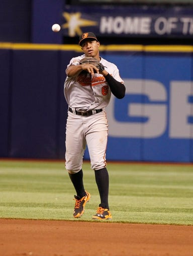 Jun 17, 2014; St. Petersburg, FL, USA; Baltimore Orioles second baseman Jonathan Schoop (6) throws the ball against the Tampa Bay Rays at Tropicana Field. Baltimore Orioles defeated the Tampa Bay Rays 7-5. Mandatory Credit: Kim Klement-USA TODAY Sports