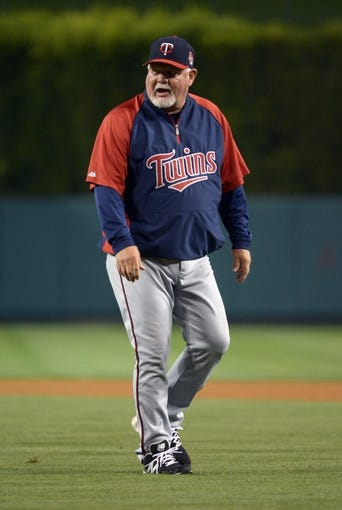 Jun 24, 2014; Anaheim, CA, USA; Minnesota Twins manager Ron Gardenhire reacts in the eighth inning against the Los Angeles Angels at Angel Stadium of Anaheim. The Angels defeated the Twins 8-6. Mandatory Credit: Kirby Lee-USA TODAY Sports