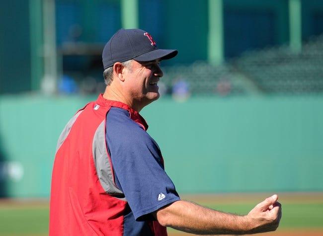 Jun 16, 2014; Boston, MA, USA; Boston Red Sox manager John Farrell (53) before a game against the Minnesota Twins at Fenway Park. Mandatory Credit: Bob DeChiara-USA TODAY Sports