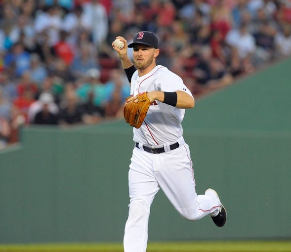 Jun 17, 2014; Boston, MA, USA; Boston Red Sox shortstop Stephen Drew (7) throws to first base during the third inning against the Minnesota Twins at Fenway Park. Mandatory Credit: Bob DeChiara-USA TODAY Sports