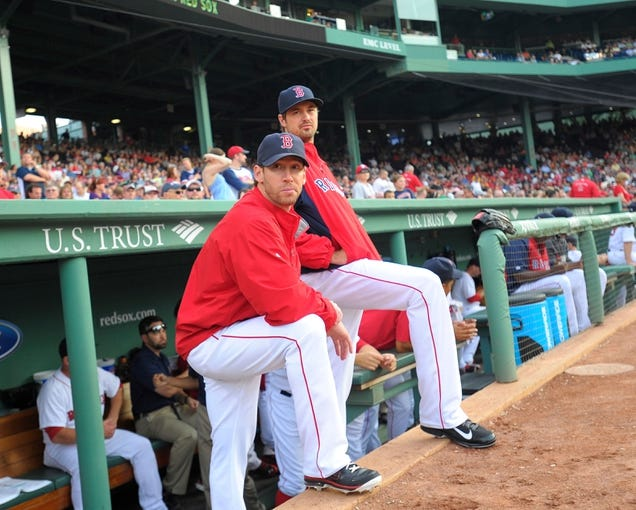 Jun 17, 2014; Boston, MA, USA; Boston Red Sox relief pitcher Craig Breslow (32) and relief pitcher Andrew Miller (30) before the start of a game against the Minnesota Twins at Fenway Park. Mandatory Credit: Bob DeChiara-USA TODAY Sports