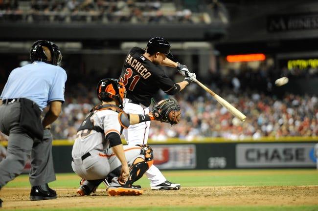 Jun 21, 2014; Phoenix, AZ, USA; Arizona Diamondbacks catcher Jordan Pacheco (31) bats against the San Francisco Giants at Chase Field. The Giants won 6-4. Mandatory Credit: Joe Camporeale-USA TODAY Sports