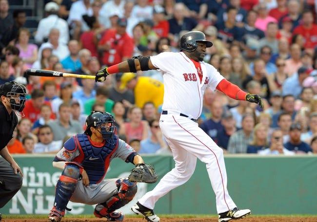 Jun 17, 2014; Boston, MA, USA; Boston Red Sox designated hitter David Ortiz (34) bats during the first inning against the Minnesota Twins at Fenway Park. Mandatory Credit: Bob DeChiara-USA TODAY Sports