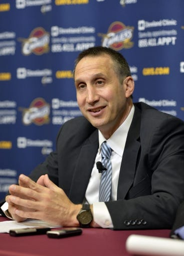 Jun 25, 2014; Independence, OH, USA; Cleveland Cavaliers head coach David Blatt speaks to the media at Cleveland Clinic Courts. Mandatory Credit: David Richard-USA TODAY Sports