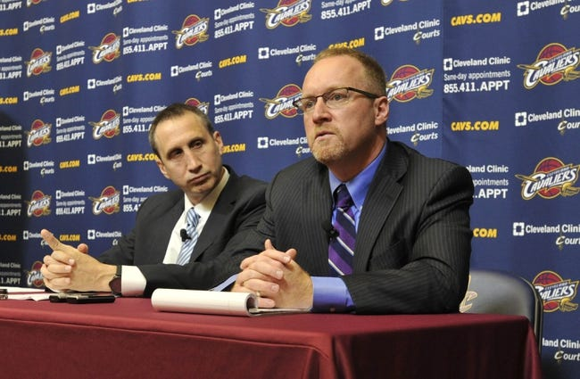 Jun 25, 2014; Independence, OH, USA; Cleveland Cavaliers head coach David Blatt (left) and general manager David Griffin speak to the media at Cleveland Clinic Courts. Mandatory Credit: David Richard-USA TODAY Sports