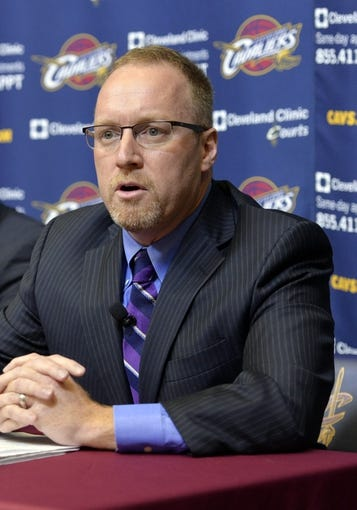 Jun 25, 2014; Independence, OH, USA; Cleveland Cavaliers general manager David Griffin speaks to the media at Cleveland Clinic Courts. Mandatory Credit: David Richard-USA TODAY Sports